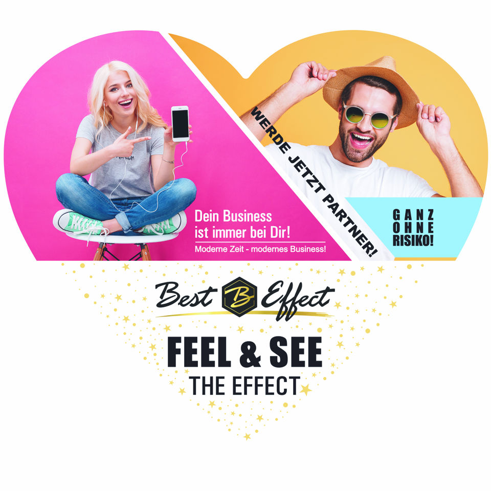 "50er Pack ""Feel the Effect"" Herzchen Flyer mit Visitenkarte"